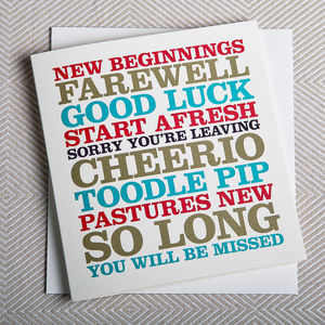 Typographic Leaving Card - leaving cards