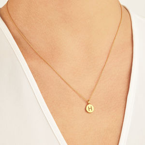 Small 18ct Gold Personalised Initial Disc Pendant