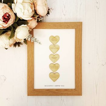 Reasons I Love You Personalised Wooden Heart Print