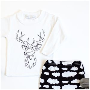 Stag Print Child And Baby Top - cosy clothing