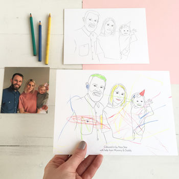 Personalised Colour In Family Portrait Print