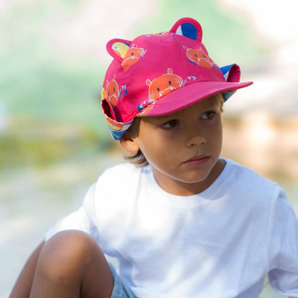 Kids Sun Hat In Hippo Print