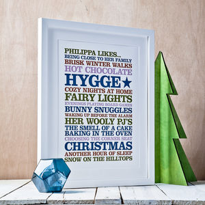 Personalised 'Likes' Poster Print - shop by category