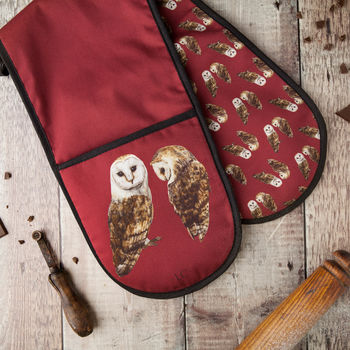 Pair Of Barn Owls Double Oven Glove