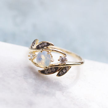 Sparkly Opal Leaf Ring In Gold Or Silver