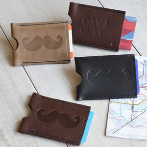 Personalised Moustache Travel Card Wallet