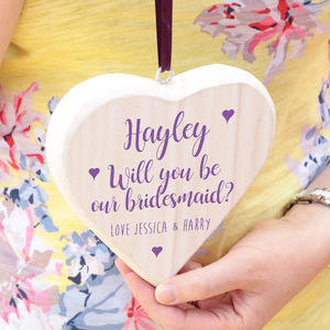 Will You Be My Bridesmaid White Wooden Hanging Heart - decorative accessories