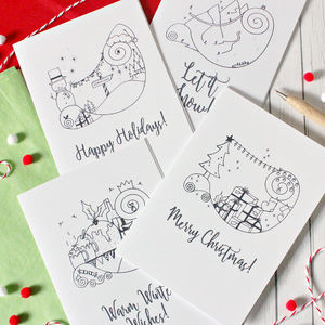 Pack Of Eight Illustrated Christmas Cards - seasonal cards