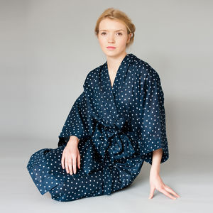 Cotton Wrap Kimono In Navy Maple Print - lingerie & nightwear