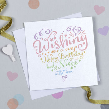 Heart And Soul Rainbow Niece Birthday Card