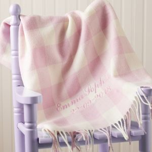 Personalised Pink Lambswool Baby Blanket - children's room