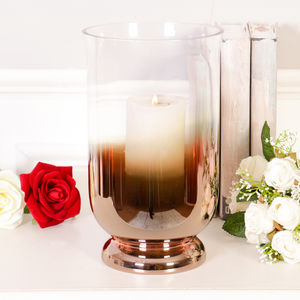 Glass Copper Candle Holder With Candle - candles & home fragrance