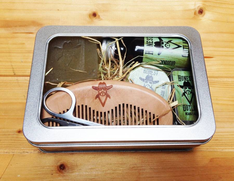premium beard grooming kit in window tin box by honest outlaw. Black Bedroom Furniture Sets. Home Design Ideas