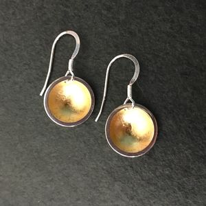 Dome Earrings With Gold Leaf