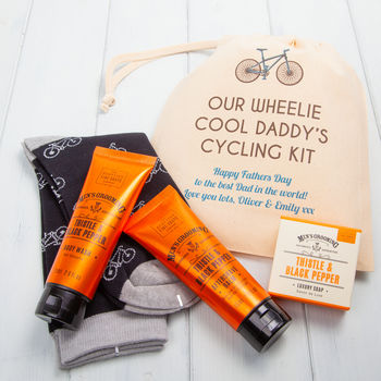 personalised cycling socks and mens toiletries gift set by british and bespoke | notonthehighstreet.com