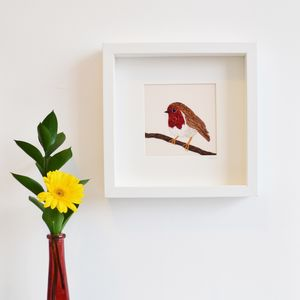 Robin Framed Embroidery Art