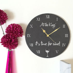 Personalised Slate Time For Wine Clock