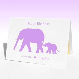 Personalised Birthday Elephants Birthday Card