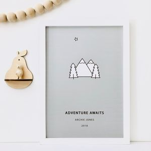'Adventure Awaits' Personalised Mountains Print