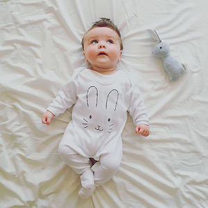 Bunny Face Baby Sleepsuit - easter outfits