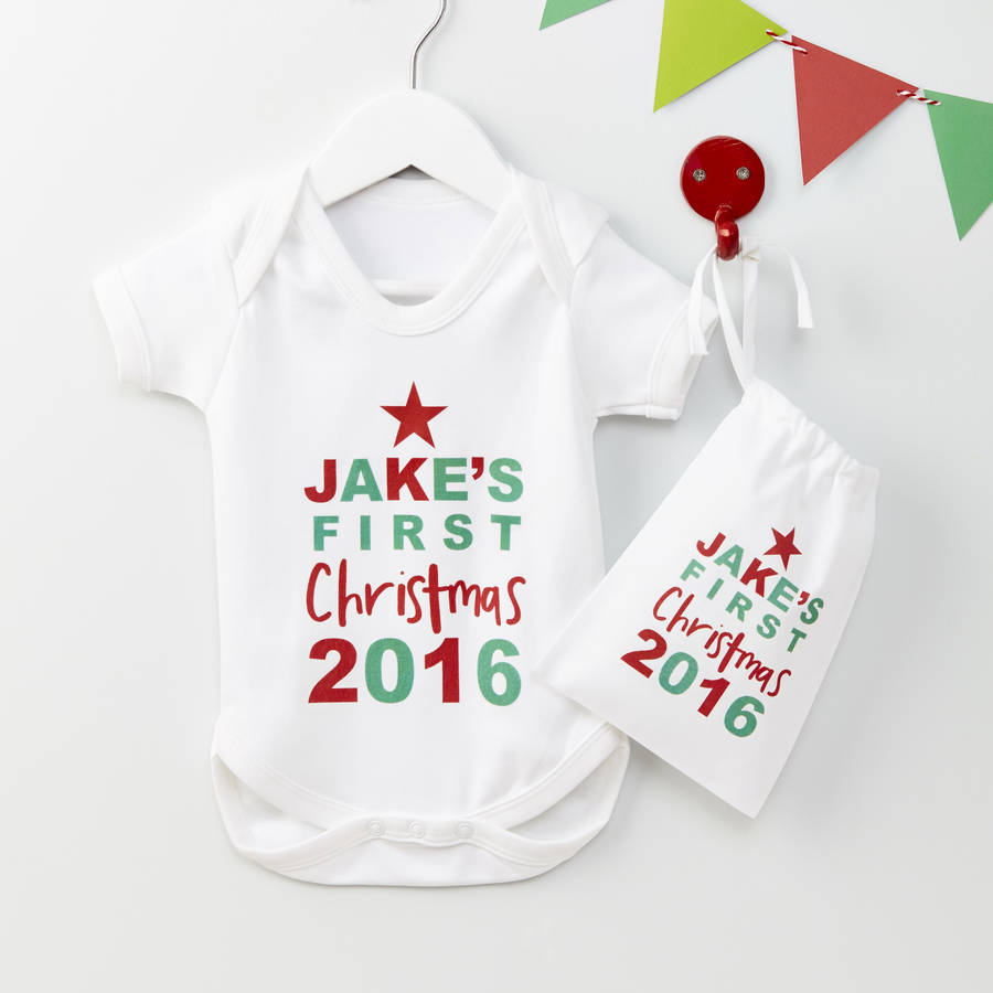Babys First Christmas Gifts: Personalised Christmas Star Baby Grow Gift Set By