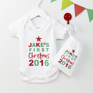 Personalised Baby's First Christmas Baby Grow Set