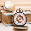 Engraved Bronze Pocket Watch Single Opening