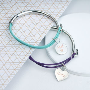 Personalised Charm And Leather Bangle