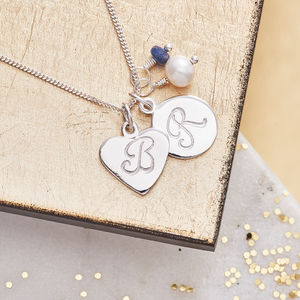 Monogram And Birthstone Silver Necklace