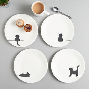 Cat Side Plates, Set Of Four, Fine Bone China - ceramic studio
