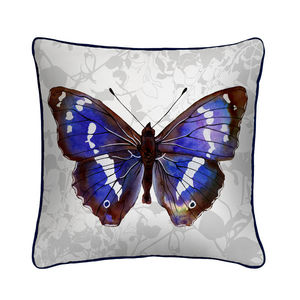 Purple Emperor Butterfly Print Silk Cushion - cushions