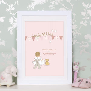 Christening Keepsake Art Print 'My Bow' - children's room