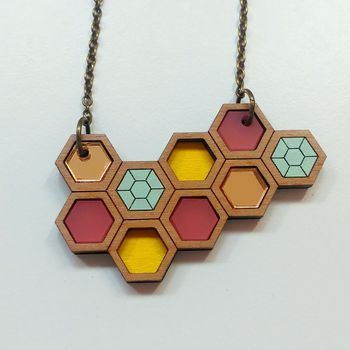 Honeycomb Geometric Necklace Small