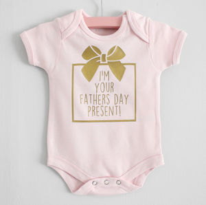 'I'm Your Fathers Day Present' Baby Grow - first father's day