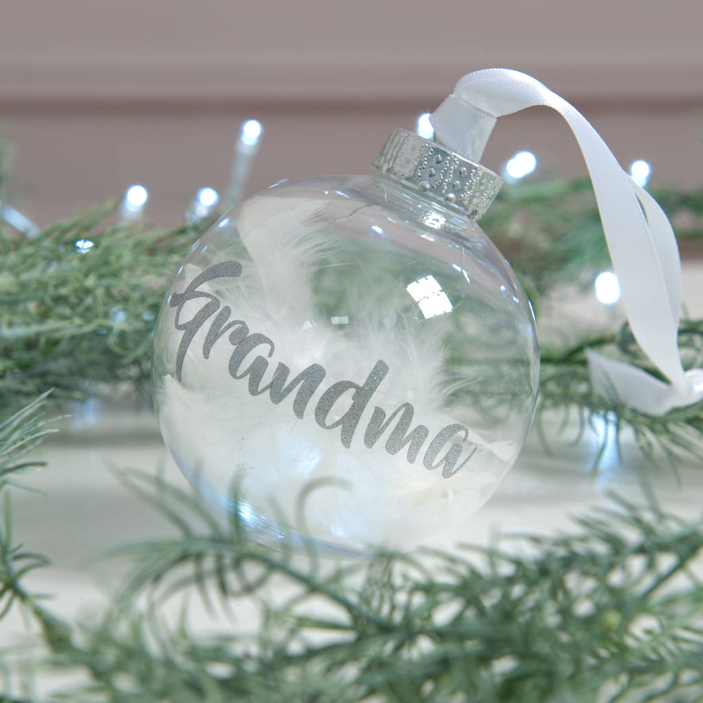 Personalised Christmas Baubles Photo: Personalised In Loving Memory Feather Christmas Bauble By