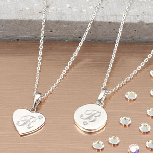 Genuine Diamond Initial Engraved Pendant Necklace