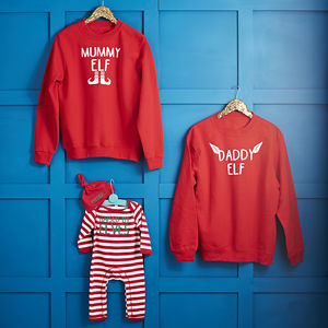 Daddy Elf, Mummy Elf, Raised By Elves Family Jumper Set - nightwear & pyjamas