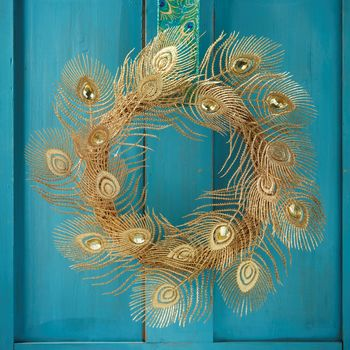 Gold Peacock Feather Wreath