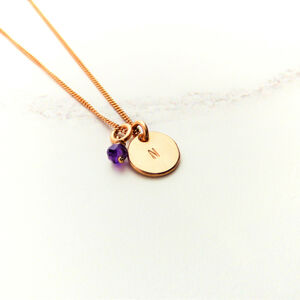 Rose Gold Personalised Birthstone Pendant