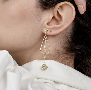 Ralph Pearl Drop Gold Earrings