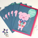 Pack Of Six Cute Pig Thank You Cards