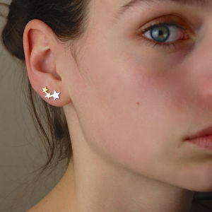 Sterling Silver, Gold And Rose Gold Star Ear Climbers