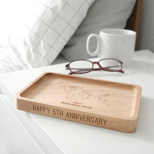Personalised Map Coin Tray - 5th anniversary: wood