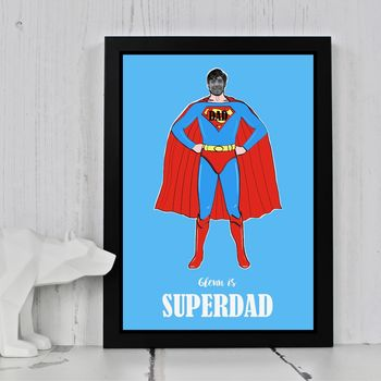 Customised Cut Out Super Dad Print