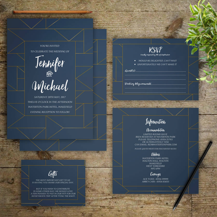 how to address wedding invites%0A Teal And Gold Geometric Wedding Invitations