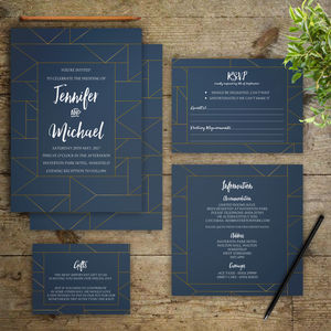 Teal And Gold Geometric Wedding Invitations