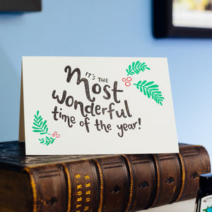 Most Wonderful Time Letterpress Christmas Card - christmas sale