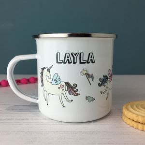 Personalised Unicorn Enamel Mug