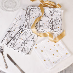 Cotton Starlit Forest Table Linen - table decorations