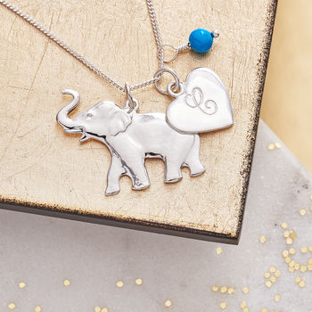 Personalised Silver Lucky Elephant Pendant - Turquoise Birthstone